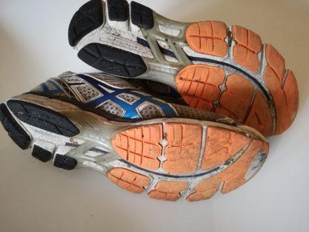 Versleten hardloopschoenen