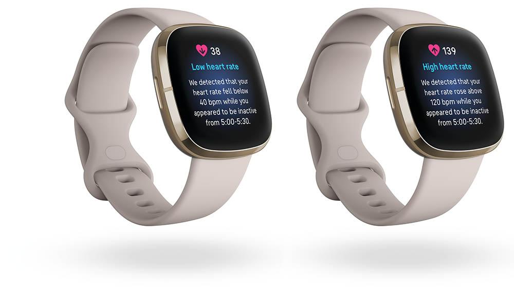Fitbit Sense waarschuwt bij ongebruikelijk hoge of lage hartslag
